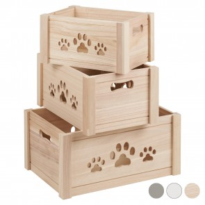 Me and My Pets Set of 3 Wooden Storage Boxes - Natural