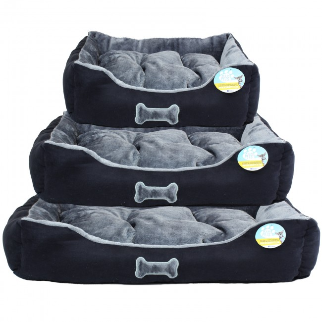 me and my pets black and grey dog bed