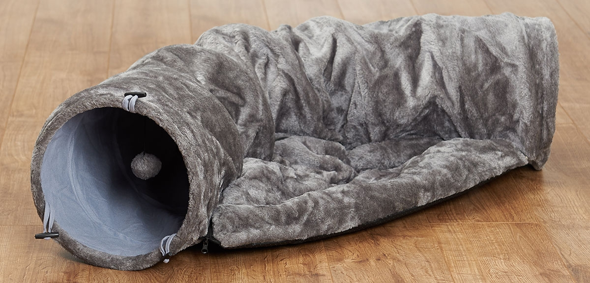 super soft grey tunnel bed for cats on a wooden floor