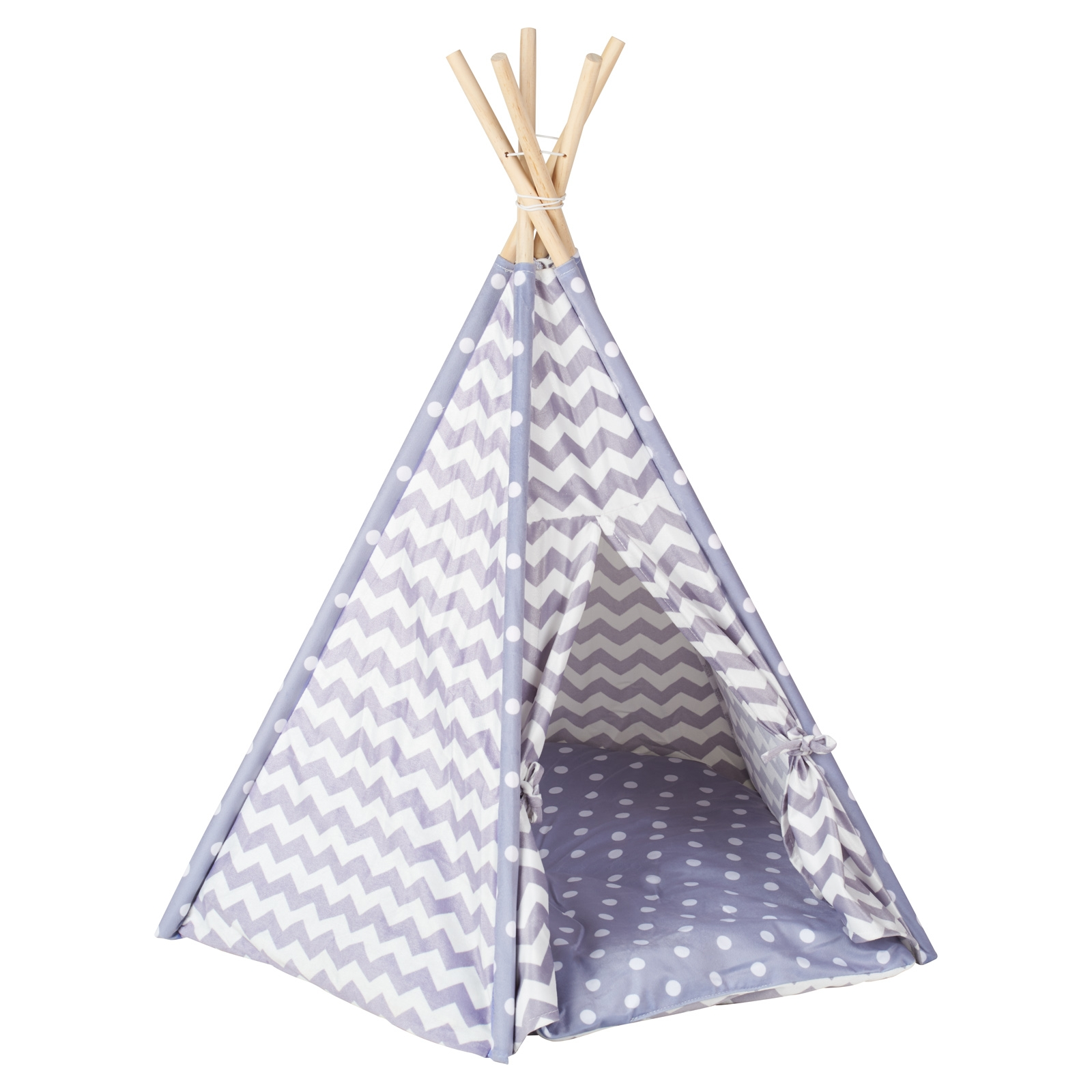 gorgeous grey and white aztec print teepee pet bed with wooden poles and a door that ties back