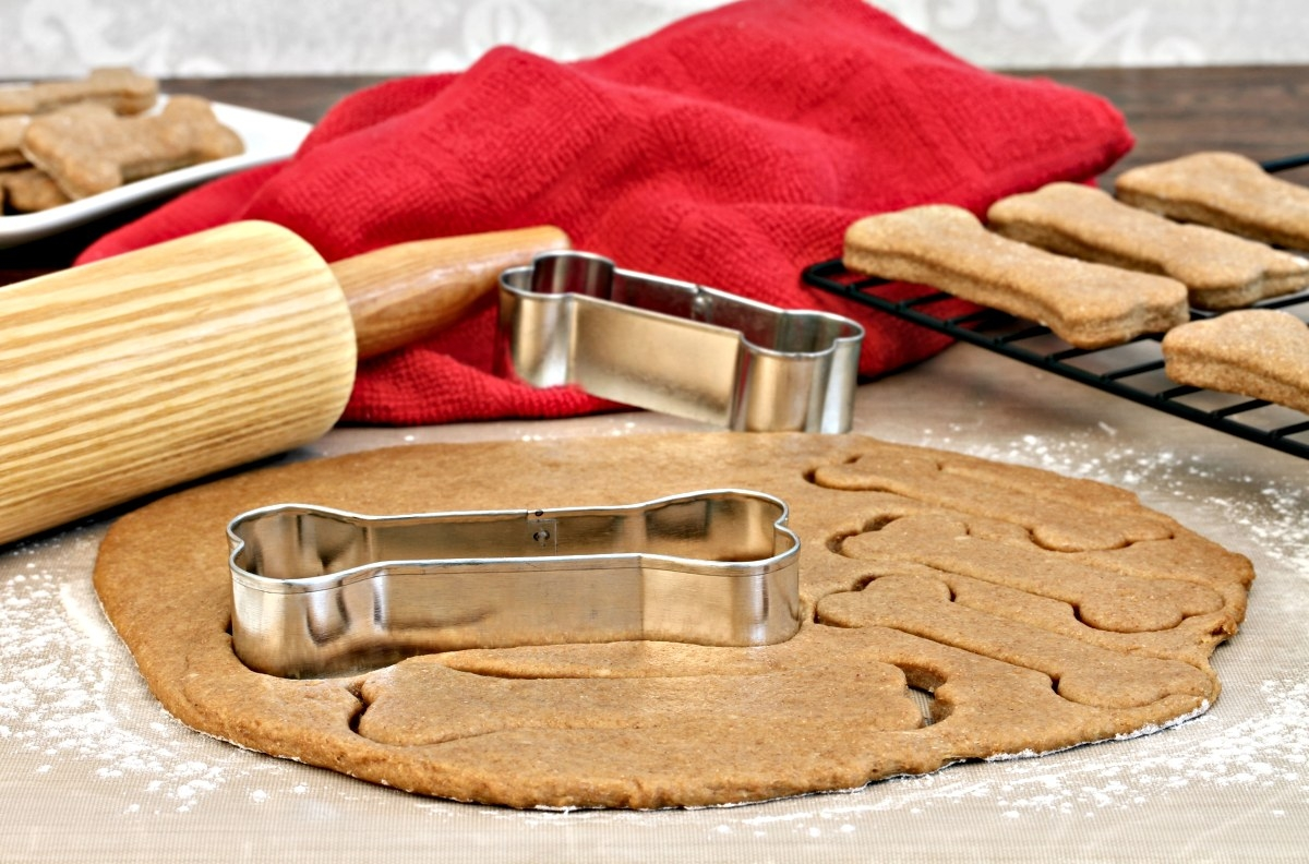 delicious homemade dog biscuits shaped as a dog bone with a biscuit cutter