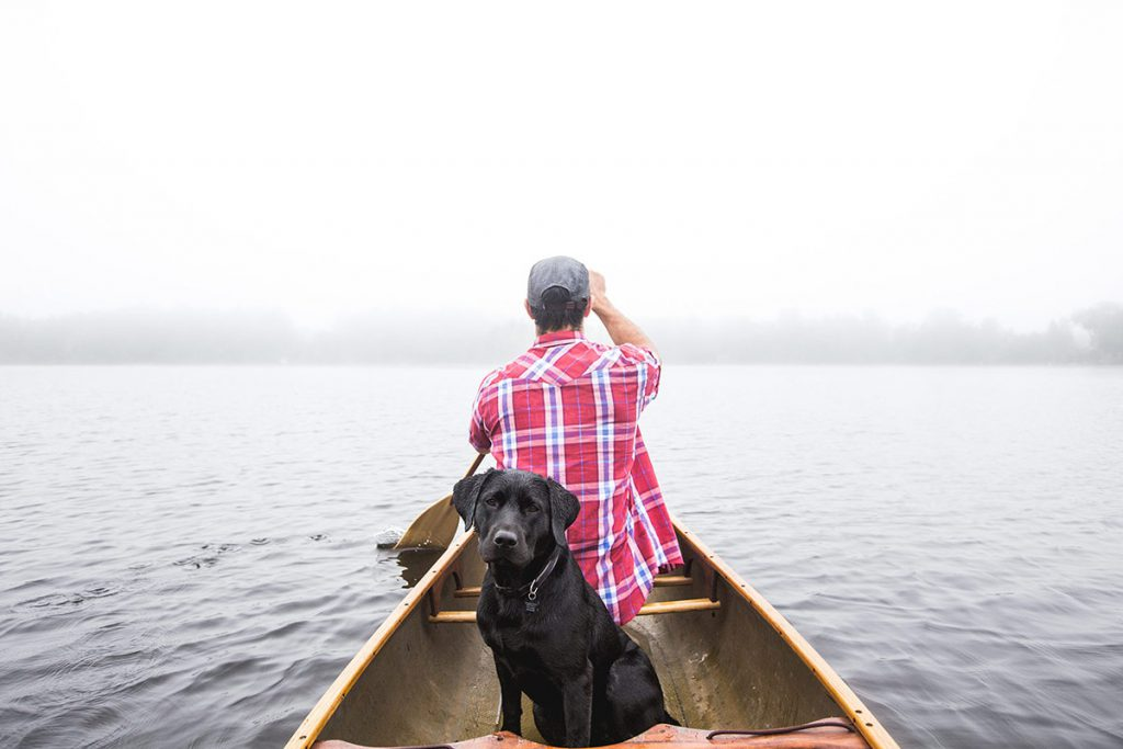 black-labrador-sitting-on-canoe-boat-with-man-on-a-stunning-lake